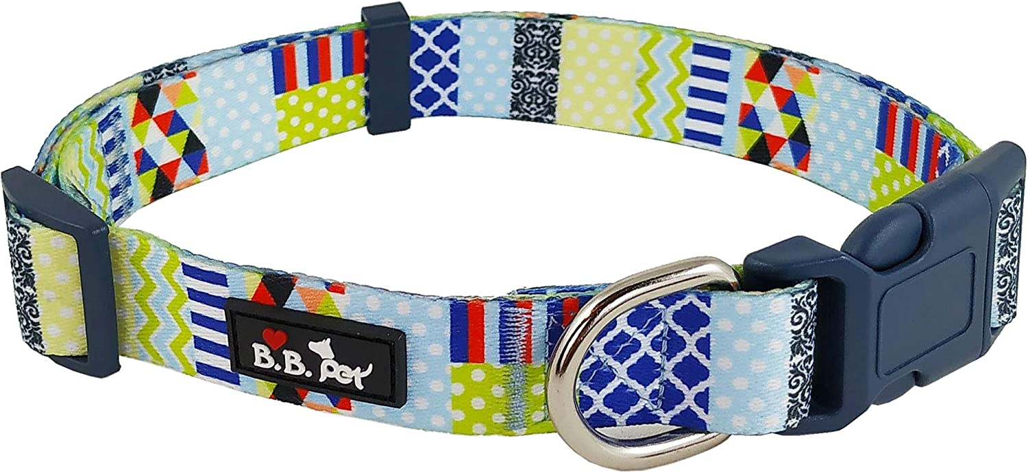 Bestbuddy Pet colorful Patchwork Durable Nylon Designer Fashion Dog Collar Trendy Comfortable Adjustable Dog Collar with Buckle BBP027
