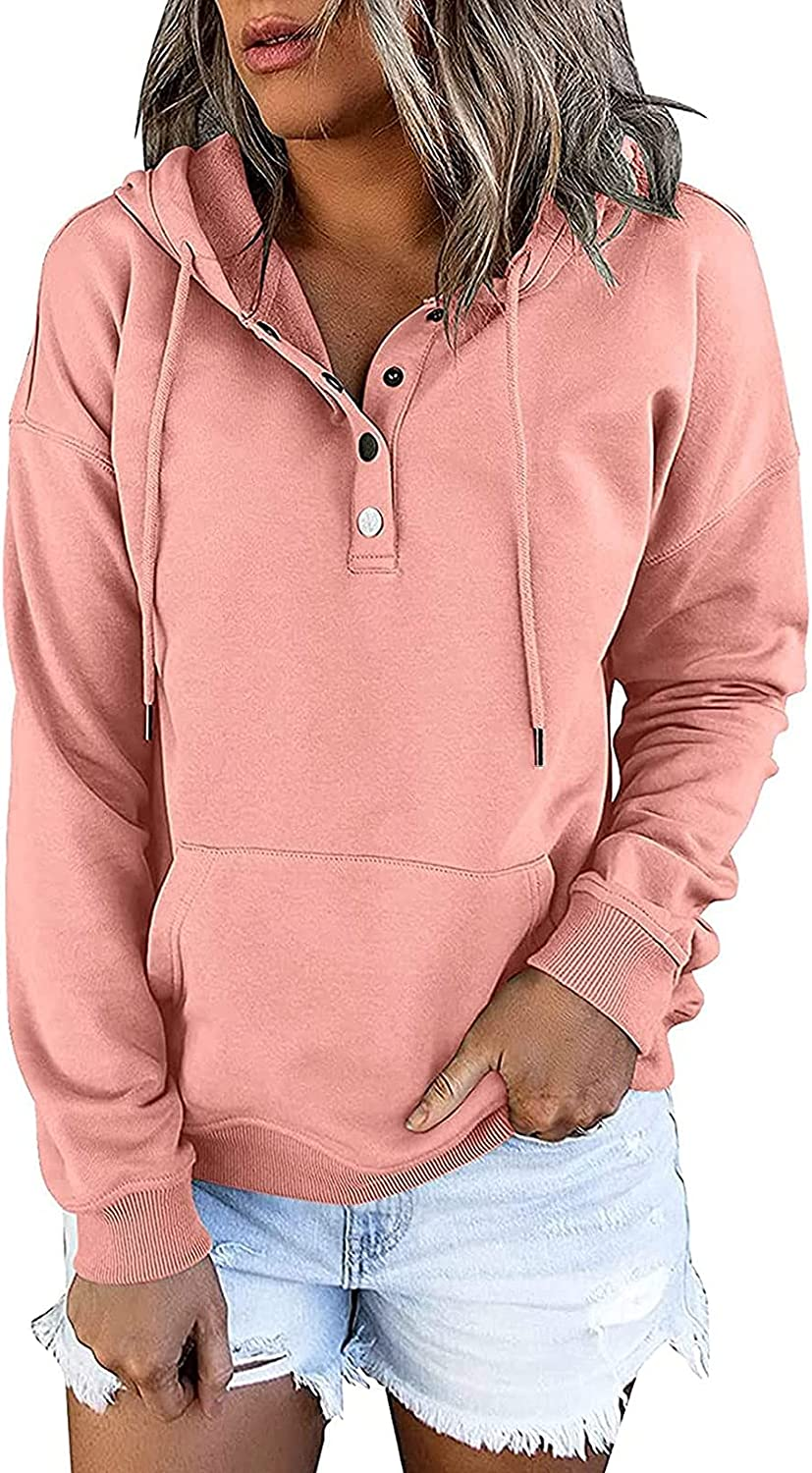 Womens Hoodies Pullover Graphic Button Down Drawstring Turtleneck Sweatshirts Casual Lightweight Comfy Long Sleeve Top