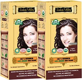 Indus valley 100% Botanical Light Brown Organic hair color For Sensitive Skin - Pack of 2