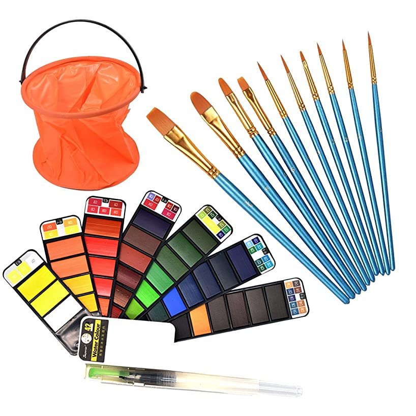 FineInno 42 Vibrant Colors Watercolor Painting Kit Mini Travel Watercolor Kit Watercolor Palette Solid Pigment Suitable for Outdoor Gouache Sketch(42 Colors+10 Nylon Brush+1 Bucket)