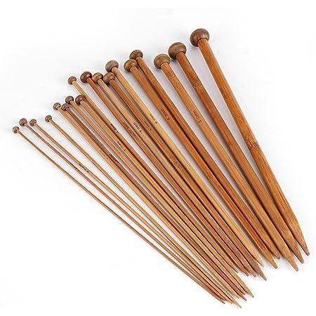 36Pcs Aiguille a Tricoter Bambou, 25CM Knitting Needles, Aiguilles Tricotage Débutants Professionnels, 18 Tailles de 2.0mm à 10.0mm