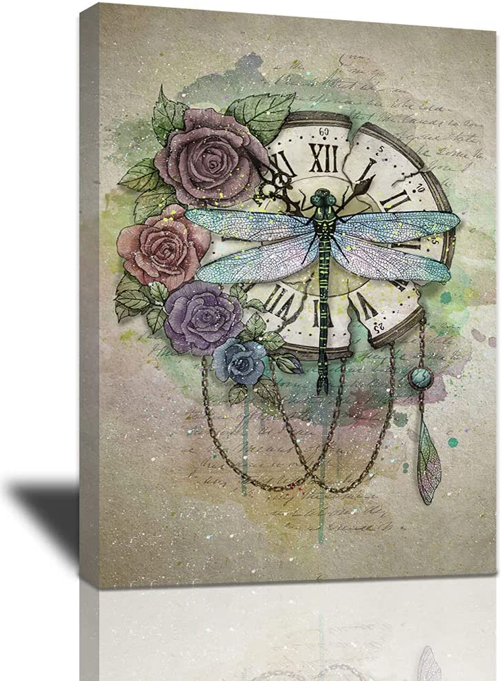 Dragonfly Canvas Wall Art Rustic And Great interest Colorful Clock Flower Rose Popular popular