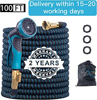 Benbilry 100FT Expandable Garden Hose, Extra Strength Fabric and Double Latex Core Water Hose, Flexible Expanding Water Hose with 9 Function Spray Nozzle, Best Choice for Watering and Washing