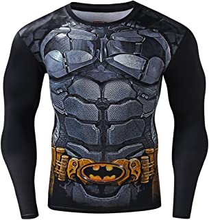 Red Plume Men's Compression Sports Shirt Cool 3D Bat Long Sleeve Tee