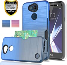LG Fiesta 2 Case/X Power 3/X Power 2 / X Charge / K10 Power/Fiesta LTE Case with Phone Screen Protector,YmhxcY[Credit Card Holder][Not Wallet]Shockproof Protective Cover For LG LV7-GB Metal Slate/Blue