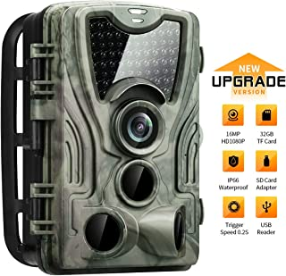 HIRALIY 16MP 1080P Trail Game Camera with 32GB TF Card & SD Card Adapter Included 940nm IR LEDs HD IP66 Waterproof Motion Activated Night Vision Hunting Wildlife Camera