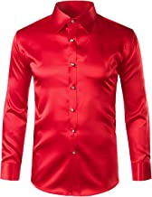 ZEROYAA Mens Regular Fit Long Sleeve Shiny Satin Silk Like Dance Prom Dress Shirt Tops