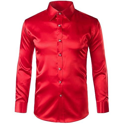 c11f77e720ece2 ZEROYAA Mens Regular Fit Long Sleeve Shiny Satin Silk Like Dance Prom Dress Shirt  Tops