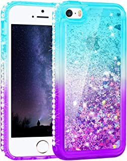 Maxdara Case for iPhone 5 5S SE with Colorful Glitter Liquid Quicksand Floating Bling Diamond TPU Bumper Girls Women Protective Case for SE 5 5S (Teal Purple)