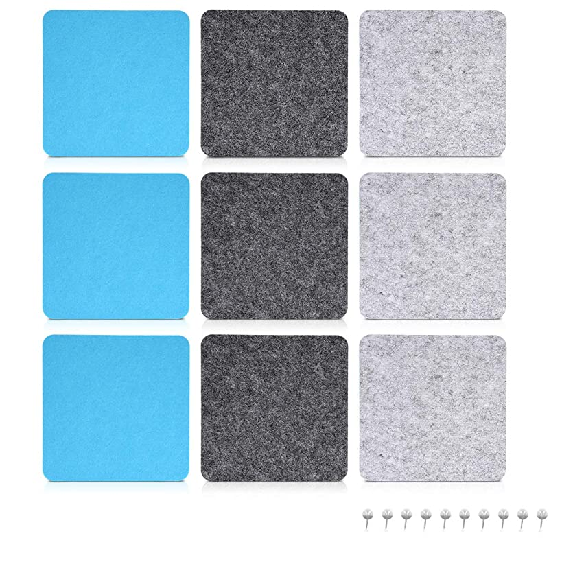 Navaris Square Felt Board Tiles - Set of 9 Notice Bulletin Boards with Push Pins 7 x 7 inches (17.7 x 17.7 cm) - Light Grey, Dark Grey, Light Blue