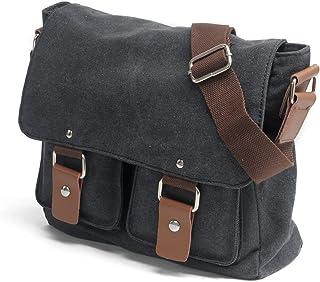 Peacechaos Men's Canvas Camera Bag Leather DSLR SLR Camera Case Vintage Camera Messenger Bag Shoulder Bag Sling Bag (Dark Grey)