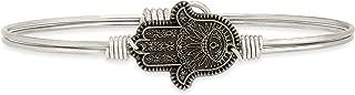   Hamsa Hand Bangle Bracelet for Women - Brass Tone Size Regular Made in USA