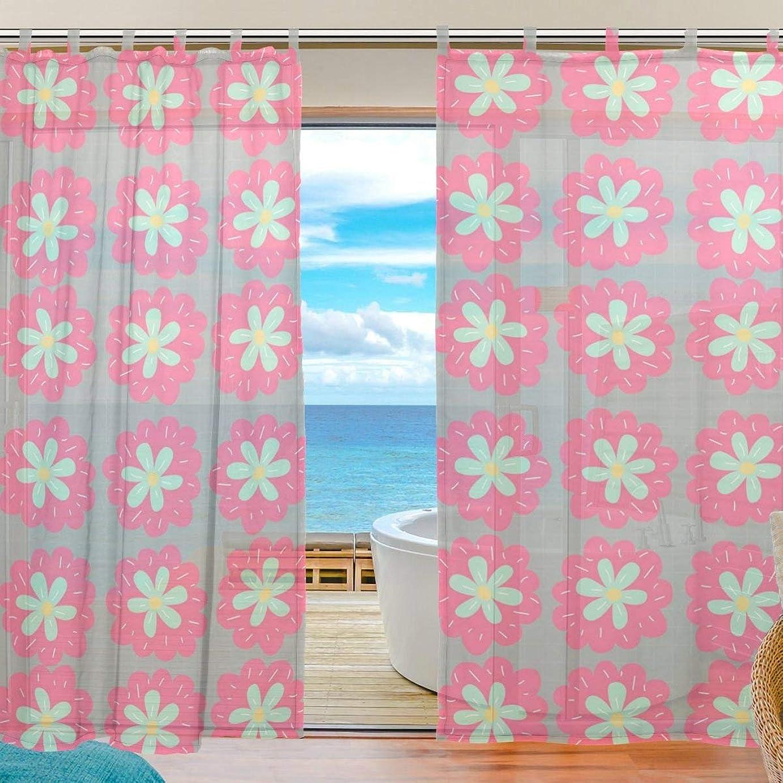 残り物事業内容バイバイZOMOY(ユサキ おしゃれ 薄手 柔らかい シェードカーテン紗 ドアカーテン,かわいい 花,装飾 窓 部屋 玄関 ベッドルーム 客間用 遮光 カーテン (幅:140cm x丈:210cmx2枚組)
