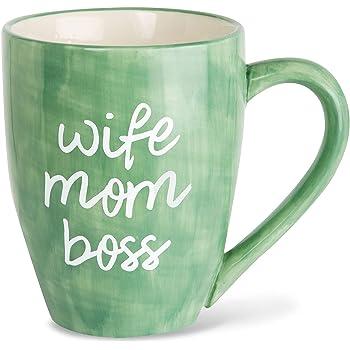 Mom Life Wife Mom Boss Green Large 20 oz Ceramic Coffee Mug Tea Cup, Green