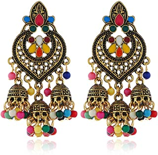 TATHIA Women's Bohemian Tassel Earrings Retro Ethnic Style Fashion Alloy Girl Earrings Women Jewelry Colored Ancient Gold Holiday Gift