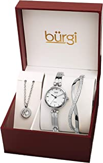 Burgi Women's 3 Piece Jewelry Gift Set – Half Bangle Diamond Watch with Swarovski Crystal Pendant Necklace and Bracelet Flash Plated -