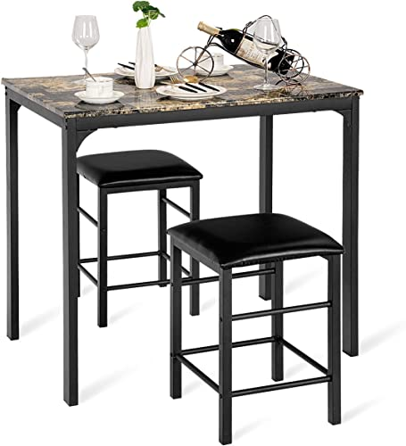lowest Giantex discount outlet sale 3 Piece Dining Set, Counter Height Table Set with Metal Frame Compact Kitchen Table Set w/ 2 Faux Leather Backless Stools for Kitchen, Bar or Apartment, Space-Saving Design outlet online sale