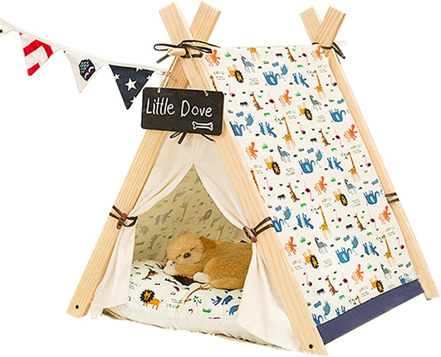 Dog Cat Bed Tent House For Small Medium Pets Puppies Kittens Kennel With Thick Removable Washable Mat Cushion Solid Wood Durable Canvas Indoor Outdoor Easy To Clean , animal , l
