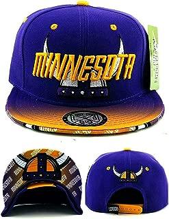 Minnesota New Leader Horned Helmet Flash Fade Purple Gold Era Snapback Hat Cap