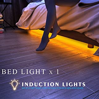 LedStripLights, Bed Lights – Motion Sensor Light - 5ft LedStripLightsWaterproof [Automatic Shut Off Timer & Brightness Dimmer] Warm White Glow Night Light for Kids Bedroom, Closet, Cabinet,