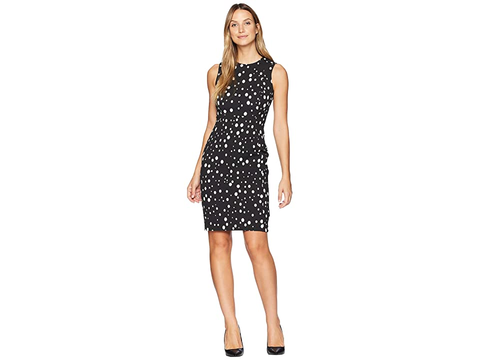 Calvin Klein Dot Print Sheath Dress CD8CNA00 (Black/Cream) Women