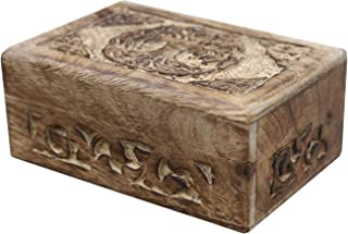 DharmaObjects Celtic Tree of Life Hand Carved Jewelry Trinket Keepsake Wooden Storage Box, Wood, Celtic Tree of Life, Medium