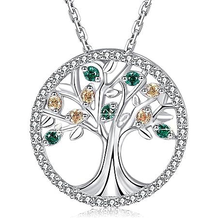MEGA CREATIVE JEWELRY Collar Árbol de la Vida Colgante para Mujer Regalo Madre Esposa Abuela Joyería Plata 925 con Cristales