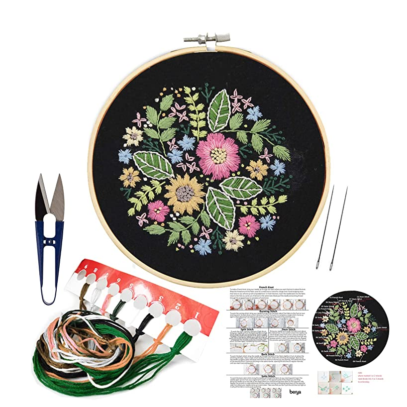 Full Set of Hand Made Embroidery Starter Kit with Partten Including Embroidery Cloth,Bamboo Embroidery Hoop, Color Threads, and Tools Kit?for Beginner