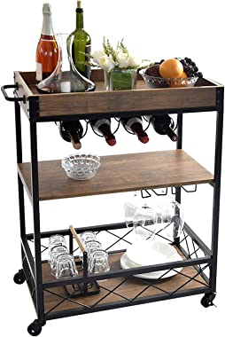 NSdirect Kitchen Cart,Industrial Kitchen Bar&Serving Cart Rolling Utility Storage Cart with 3-Tier Shelves,Metal Wine Rack Storage and Glass Bottle Holder,Removable Wood Top Box Container,Brown