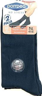 POMPEA, 4 pares de calcetines corta hombre Piquet Azul 39/42 – 43/46 de microfibra