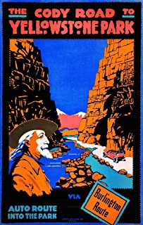 1916 travel poster to Yellowstone Park featuring a profile image of Buffalo Bill Cody and a car with passengers traveling ...