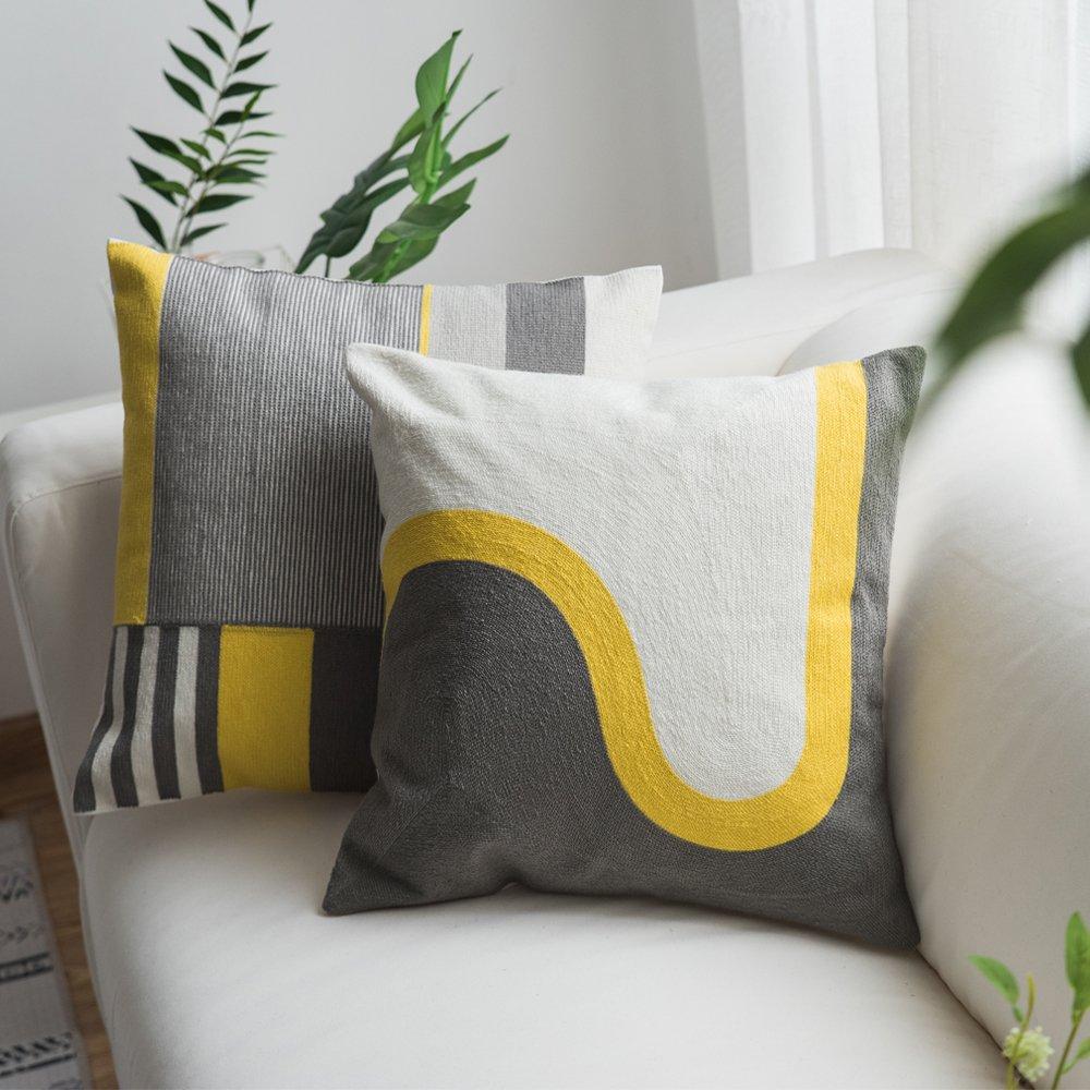 modern yellow pillows amazon com rh amazon com  grey brown and yellow throw pillows
