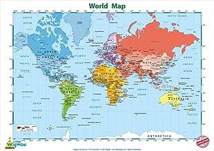 Little Wigwam World Map Chart - No Tear Guarantee Educational Poster (60 x 42cm / 24 x 17 inches)