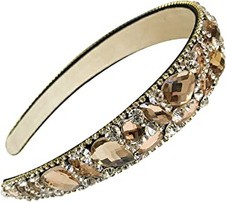 Numblartd Handmade Luxury Irregular Sparkle Crystal Rhinestone Wide-edge Headband Hair Hoop Band - Fashion Hair-Band Headwear Accessories for Women Lady Girls (Champagne)