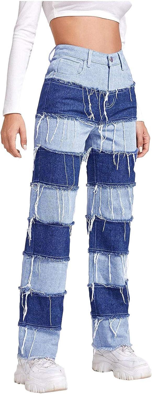 Women's Loose Straight Wide Leg Tassel Jeans Color Block Striped Stretch Denim Pants for Women