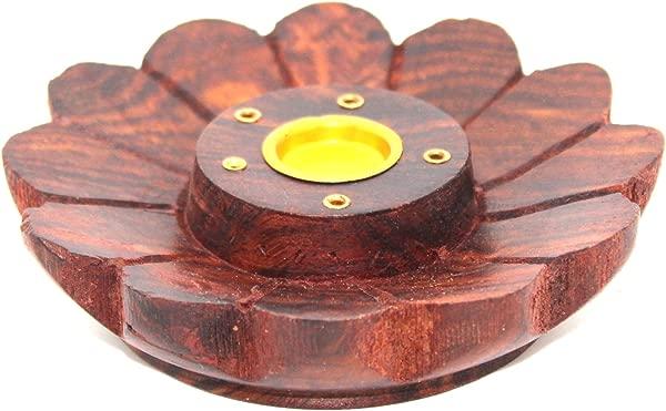 果文达莲花木制香炉用于锥形和木棒