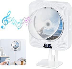 Gueray Portable CD Player Bluetooth Wall Mountable Dust Cover Built-in HiFi Speakers 3.5mm AUX Jack & Remote Control with LCD Screen Display Home Audio FM Radio USB MP3 Music Player White