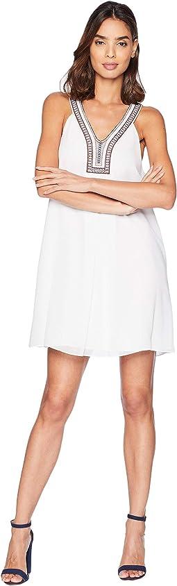 Pleat Front Trim A-Line Dress