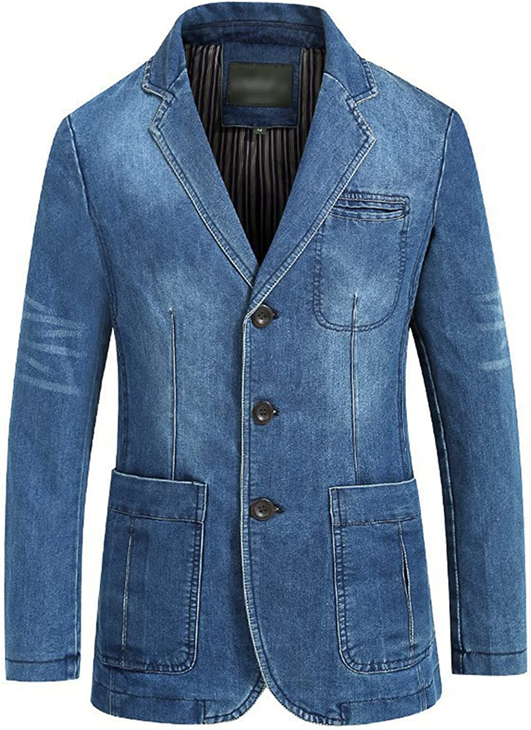 PEHMEA Men's Three Buttons Denim Blazer Jacket Vintage Notched Collar Sports Coats