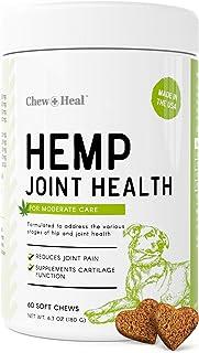 Chew + Heal Dog Hemp Hip and Joint Supplement - 60 Soft Chews Treats - Glucosamine, MSM, Vitamin C, Omega, Chondroitin - f...