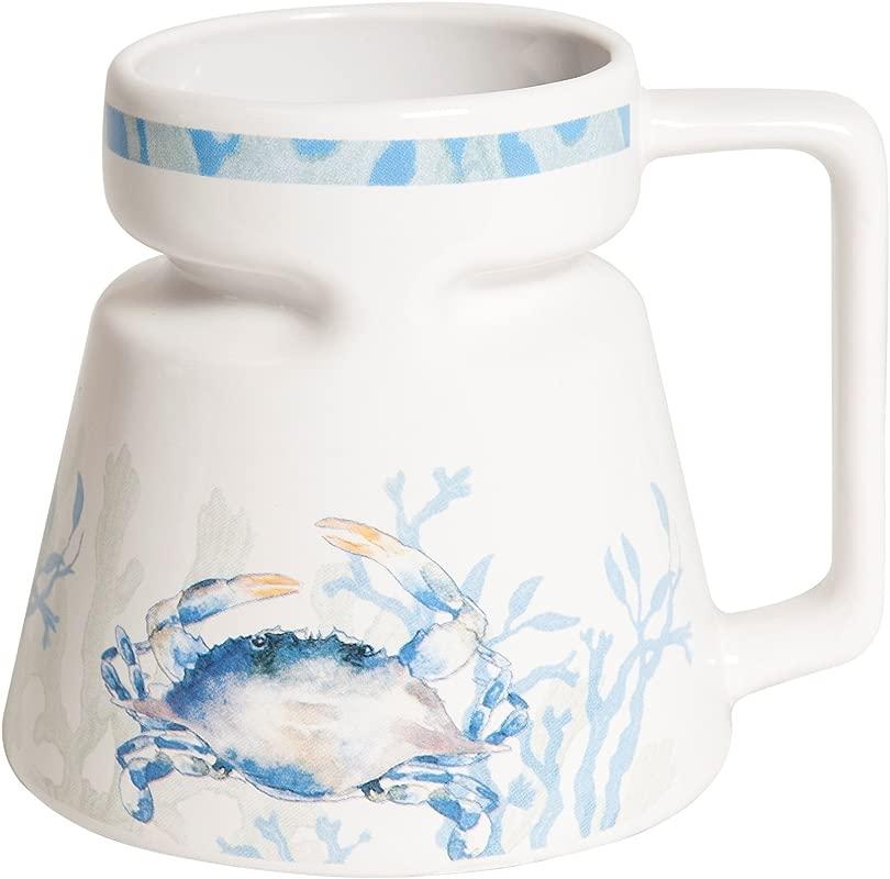Galleyware Blue Crab Ceramic Non Skid Travel Mug 16 Oz