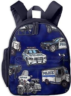 Mochilas Infantiles, Bolsa Mochila Niño Mochila Bebe Guarderia Mochila Escolar con Police Car 135 para Niños de 3 A 6 Años de Edad