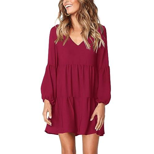 07944af99166 Amoretu Women s Long Sleeve Tunic Dress V Neck Loose Swing Shift Dresses