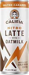 Califia Farms Salted Caramel Oatmilk Nitro Draft Latte Cold Brew Coffee, 7 Oz (12 Cans) | Dairy Free | Gluten Free | On-the-Go | Clean Energy | Plant Based | Non-GMO