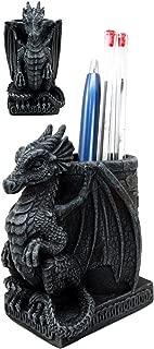 Ebros Medieval Fantasy Smaug Dragon Stationery Holder Statue Gothic Dragons Organizer Office Desktop Pen Pencil Holder Figurine 4.75