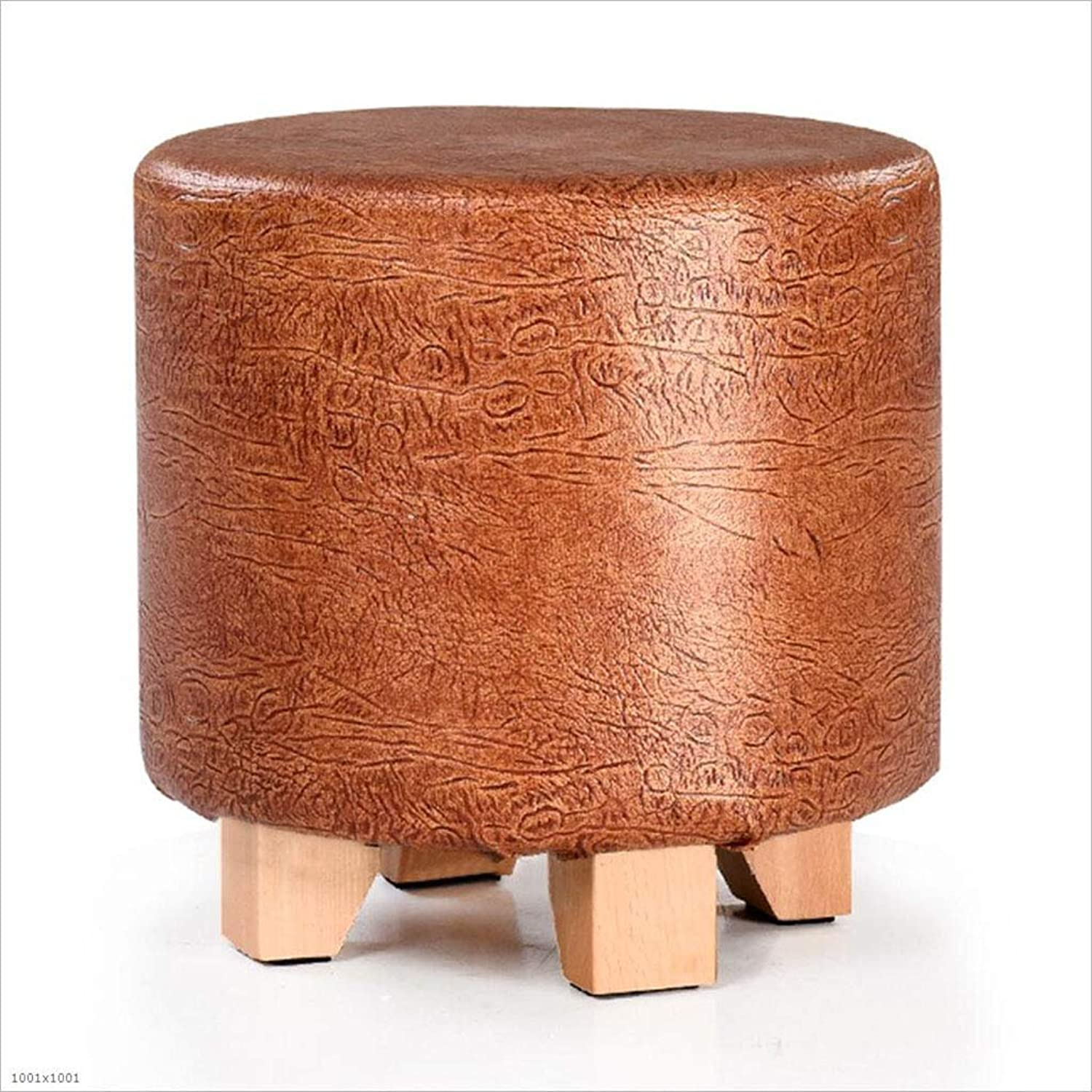 Solid Wood Footstool Round shoes Leather Surface Small Stool Waterproof Size 29X29x29cm,Darkgold