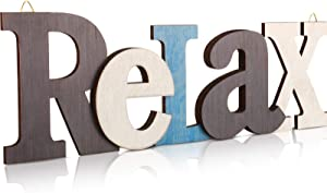 Relax Letter Wooden Sign Rustic Relax Wall Decor Hanging Decorative Cutout Word Sign Wooden Relax Sign Hanging Ornament for Door Wall Table Shelf Farmhouse Decor Bathroom, 13.8 x 3.9 Inch
