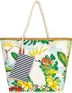 peinat Große Strandtasche mit Reißverschluss und Innentasche Wasserdicht Shopper Large Sommer Leinentragetaschen Seil Dame...
