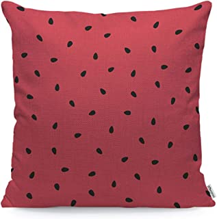 WONDERTIFY Throw Pillow Case Cover Fruit Watermelon Background with Black Seeds Summer - Soft Linen Pillow Case for Decorative Bedroom/Livingroom/Sofa/Farm House - Cushion Covers 18x18 Inch 45x45 cm