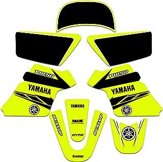 Yamaha PW 50 PW50 Kit de gráficos e decalques de placa de número em branco para anos 1990-2021 NEON AMAELLOW